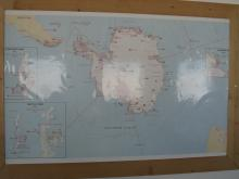 Photo of map of Antarctic stations